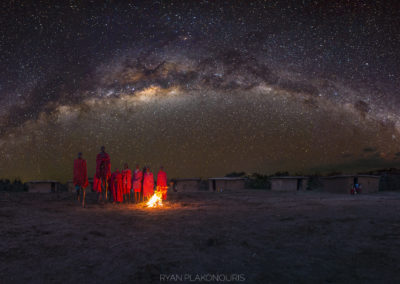 Maasai village under Milky Way